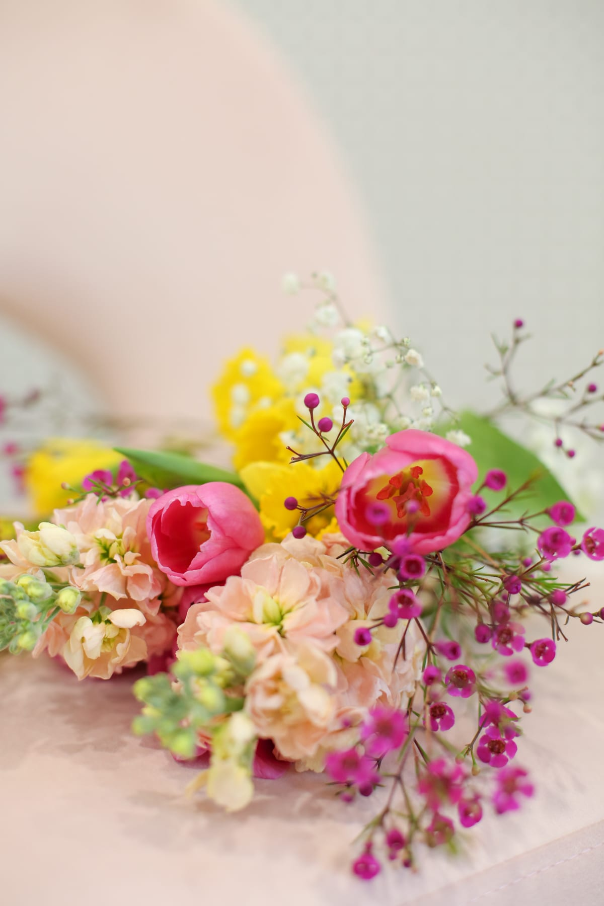 Bouquets wrapped with printed ribbon
