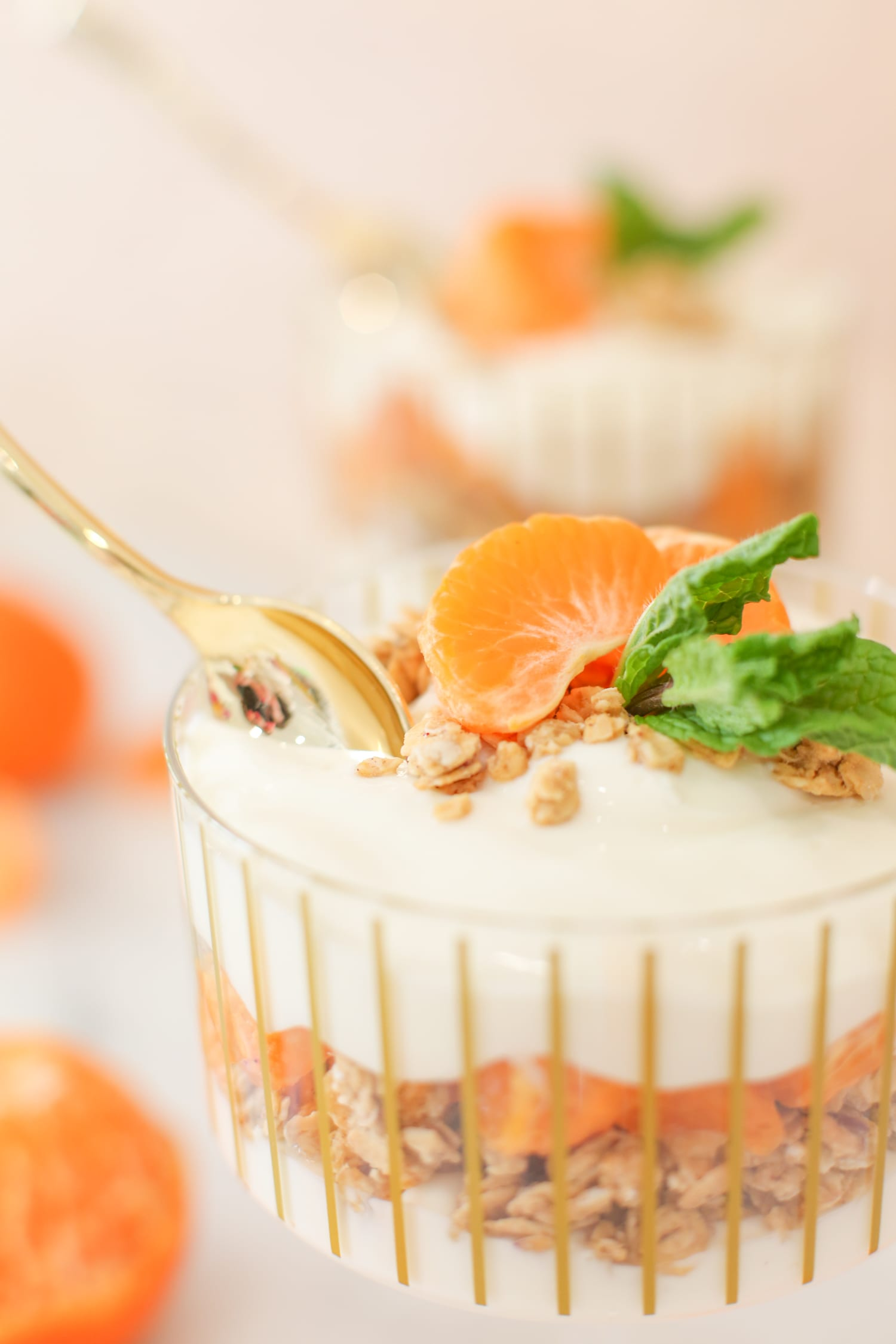 Simple and healthy mandarin granola parfait recipe