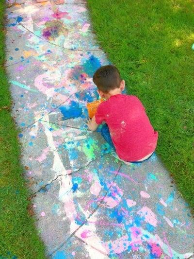 Messy chalk sidewalk
