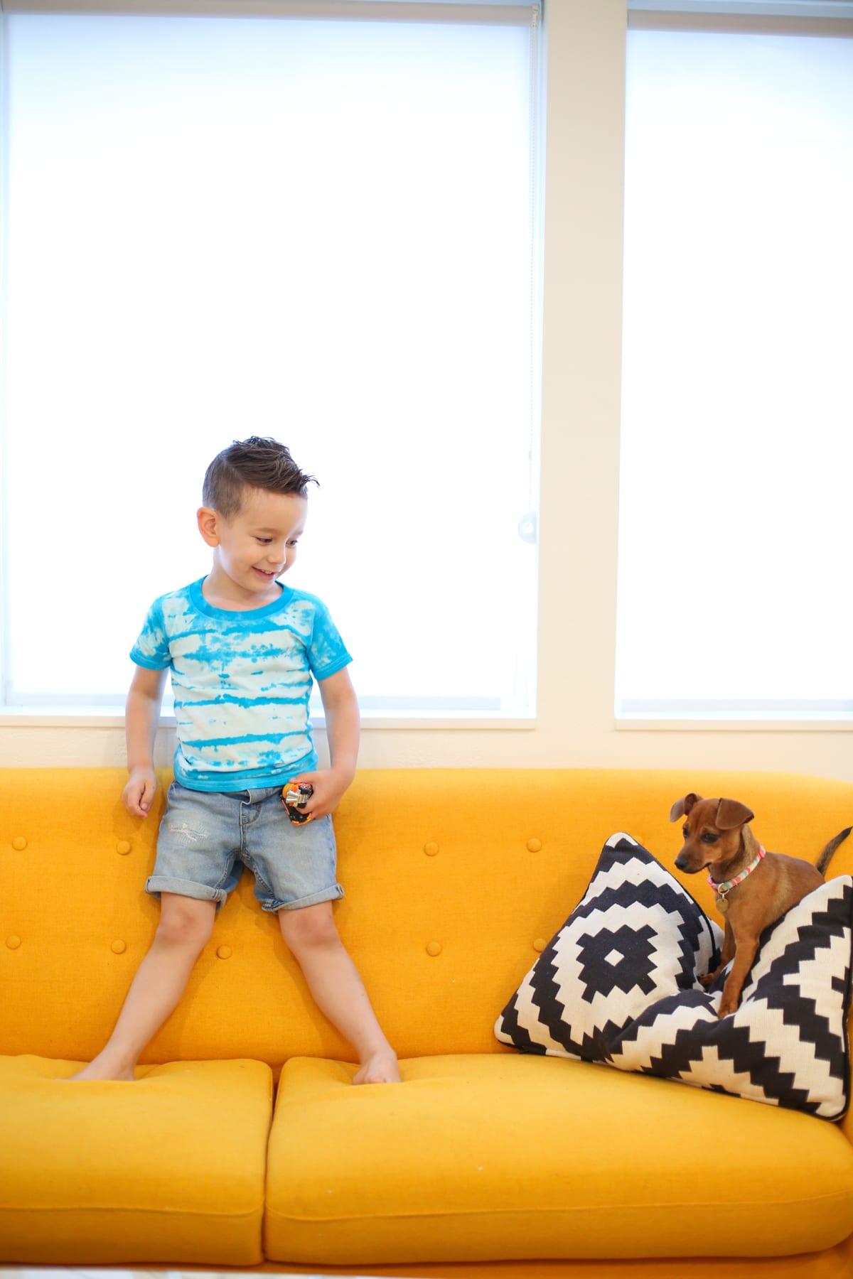 shibori-style tie dye kids' shirts
