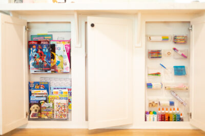 how we organize (and hide) all our kids' art supplies