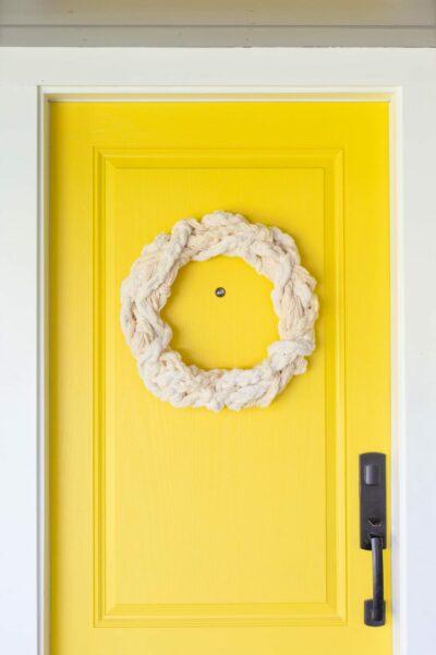Make a textured yarn wreath for fall