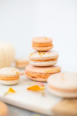 Gold Splattered Pumpkin Spice Macarons