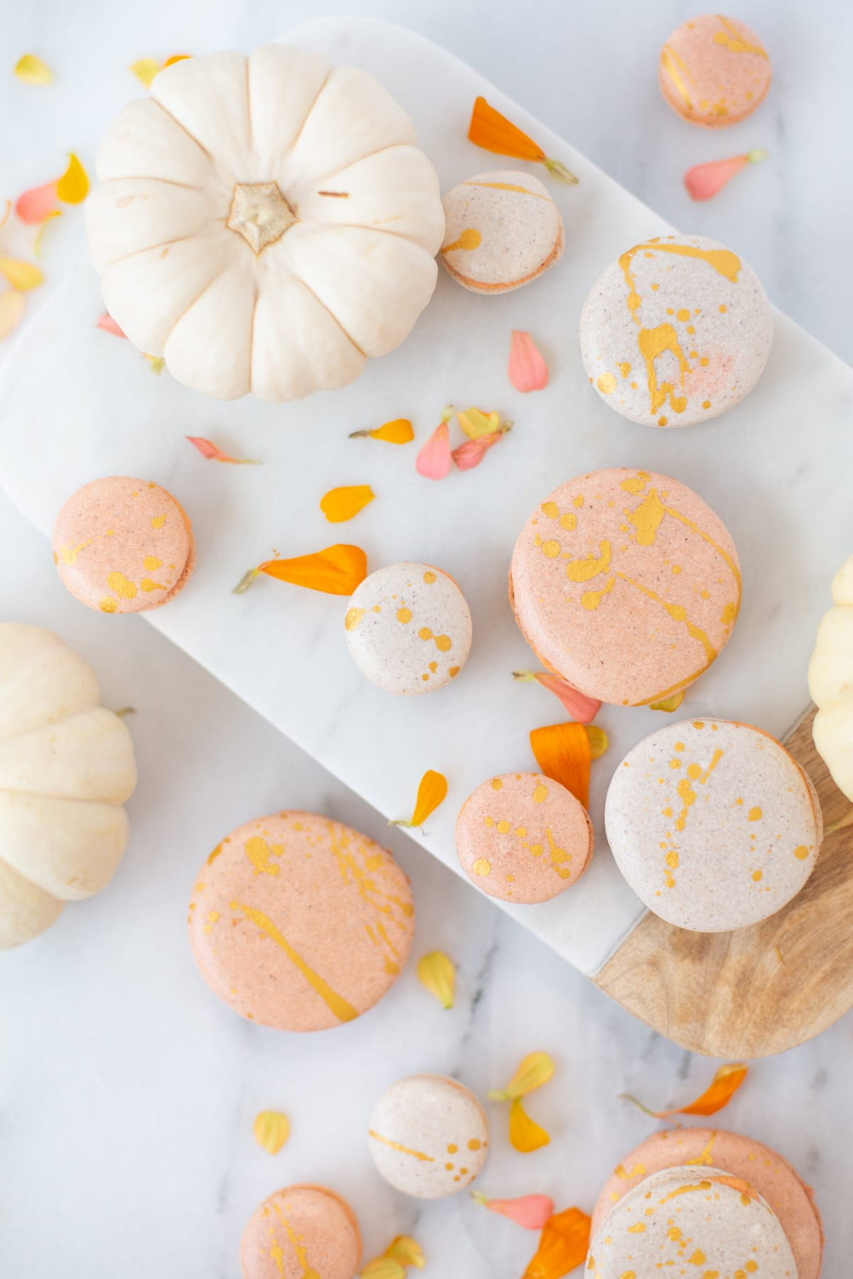 Gold Splattered Pumpkin Spice Macarons