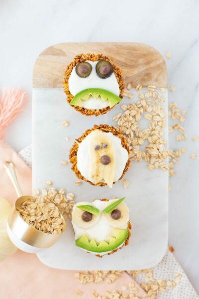 Spooky Pumpkin Spice Yogurt Granola Cups for Halloween