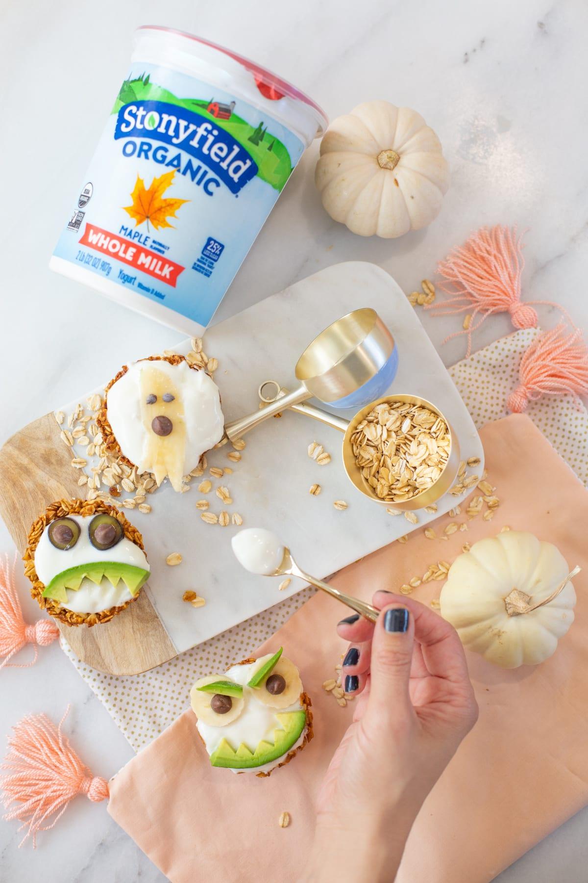 Spooky Pumpkin Spice Yogurt Granola Cups for Halloween