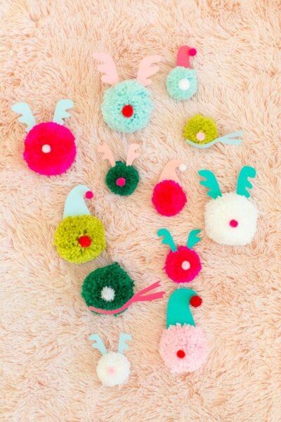 Make pom pom Christmas tree ornaments for a family craft