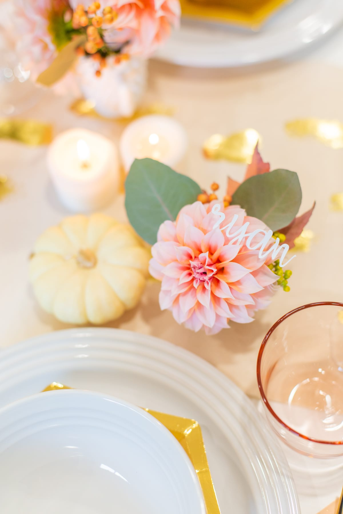 How to Make Mini Bouquet Thanksgiving Place Cards