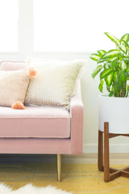 Pink sofa seating area in a home office
