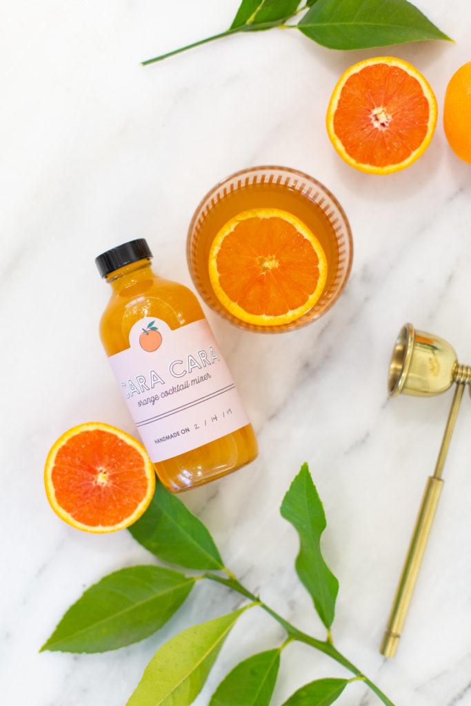 Cara Cara Orange Cocktail Mixer Recipe with Printable Label