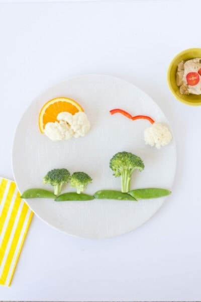 Vegetables making a picture of a landscape