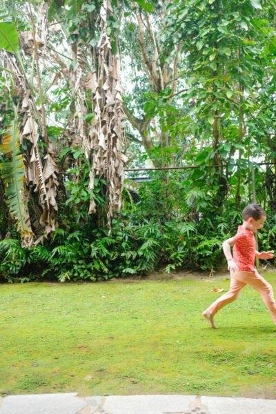 Little boy running in Kauai