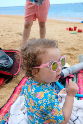 Little girl on beach in Kauai