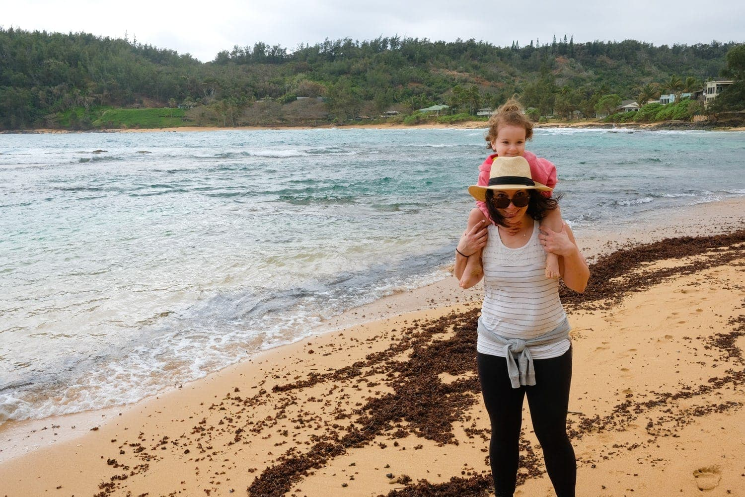 Woman and daughter on Kauai beach