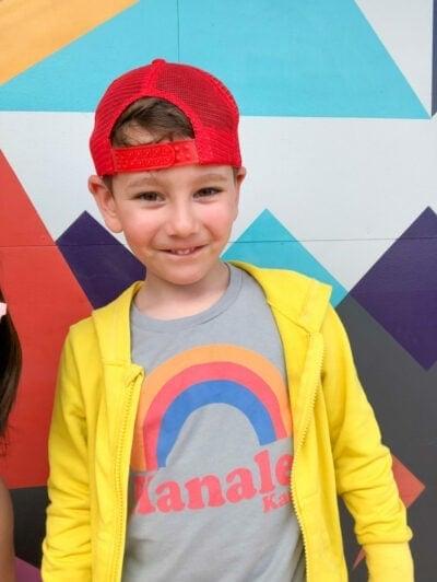Boy wearing a Hanalei, Kauai shirt