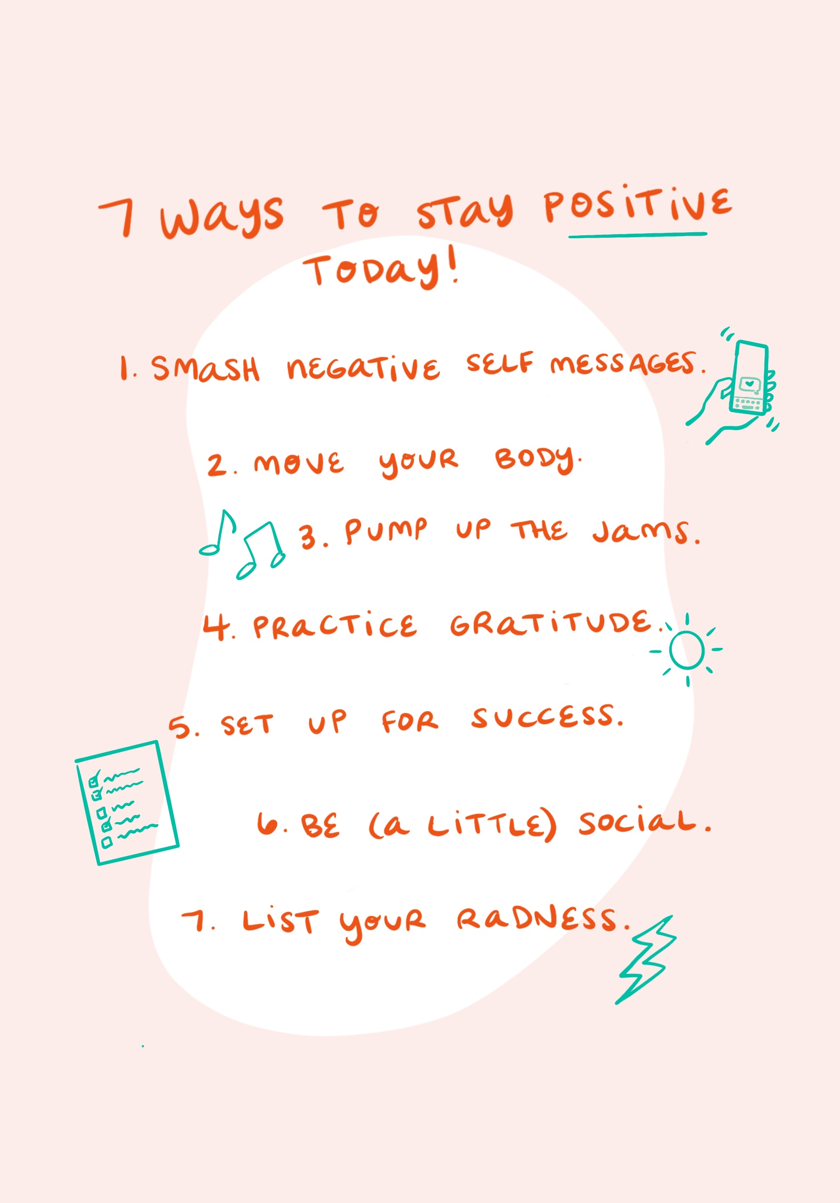 7 Ways to Stay Positive Today Illustration