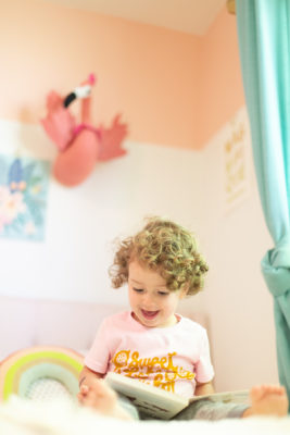 Colorblocked pink paint in a kids' room