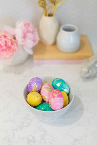 Painted and gold leaf Easter eggs, a fun Easter craft for kids