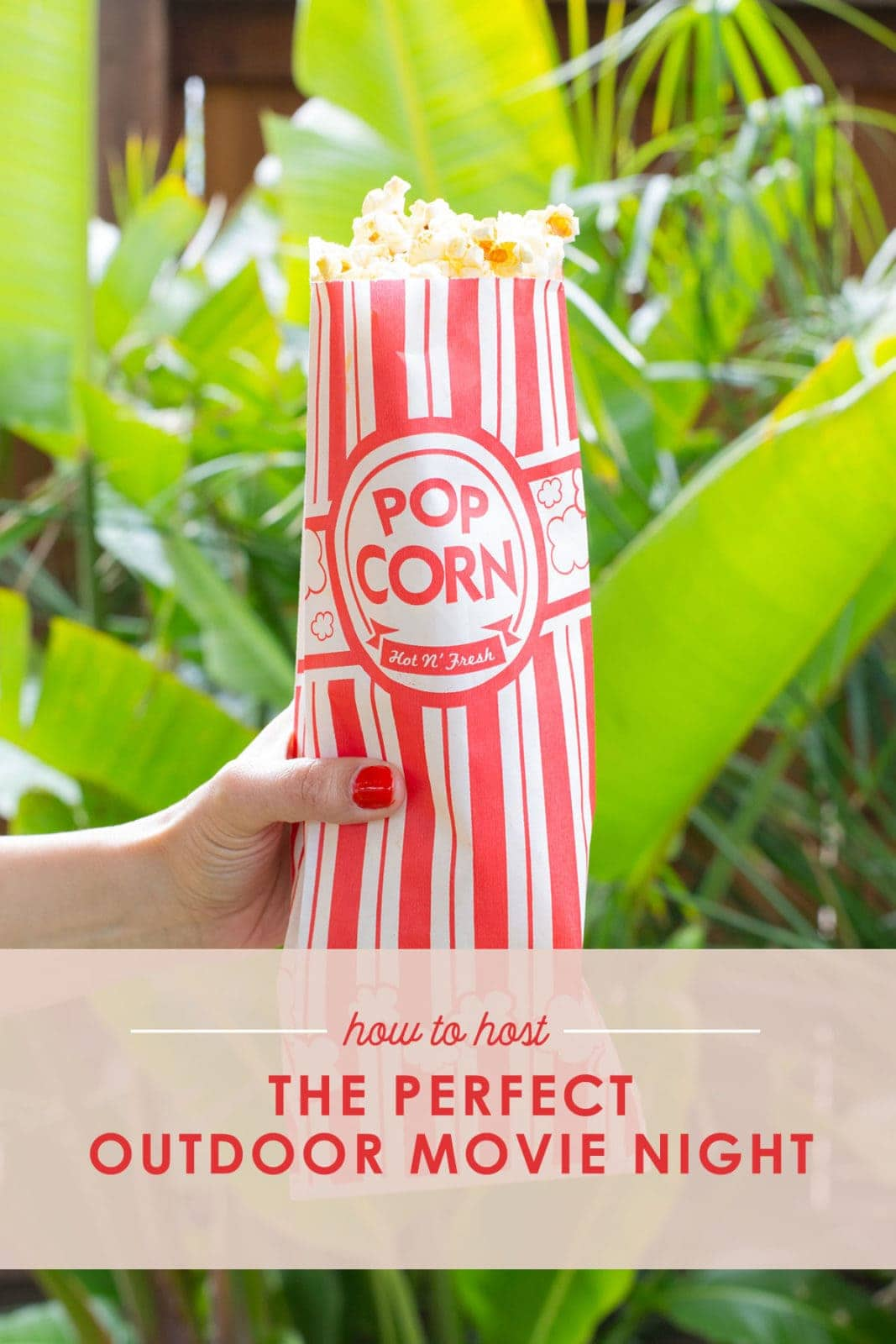 How to host the perfect outdoor movie night, hand holding popcorn bag