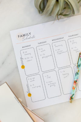 Family Schedule for staying present and productive