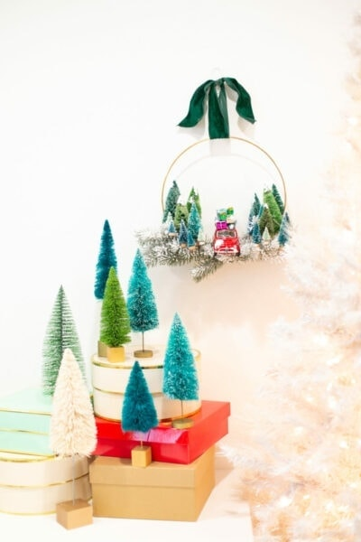 How to make a holiday wreath with vintage toy cars