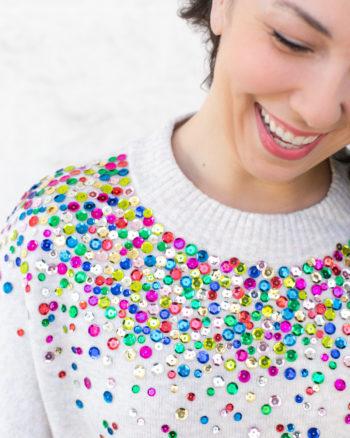 DIY Anthropologie inspired sequin sweater