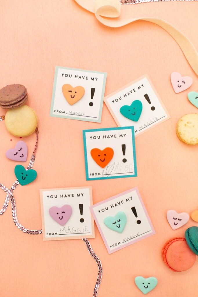 DIY clay heart valentines
