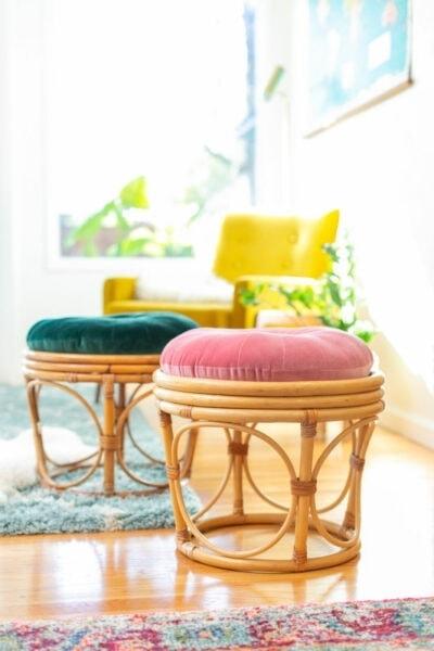 DIY rattan ottomans
