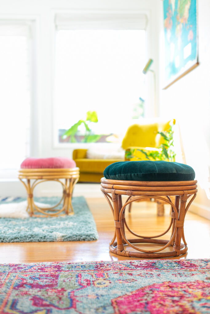 DIY rattan ottomans