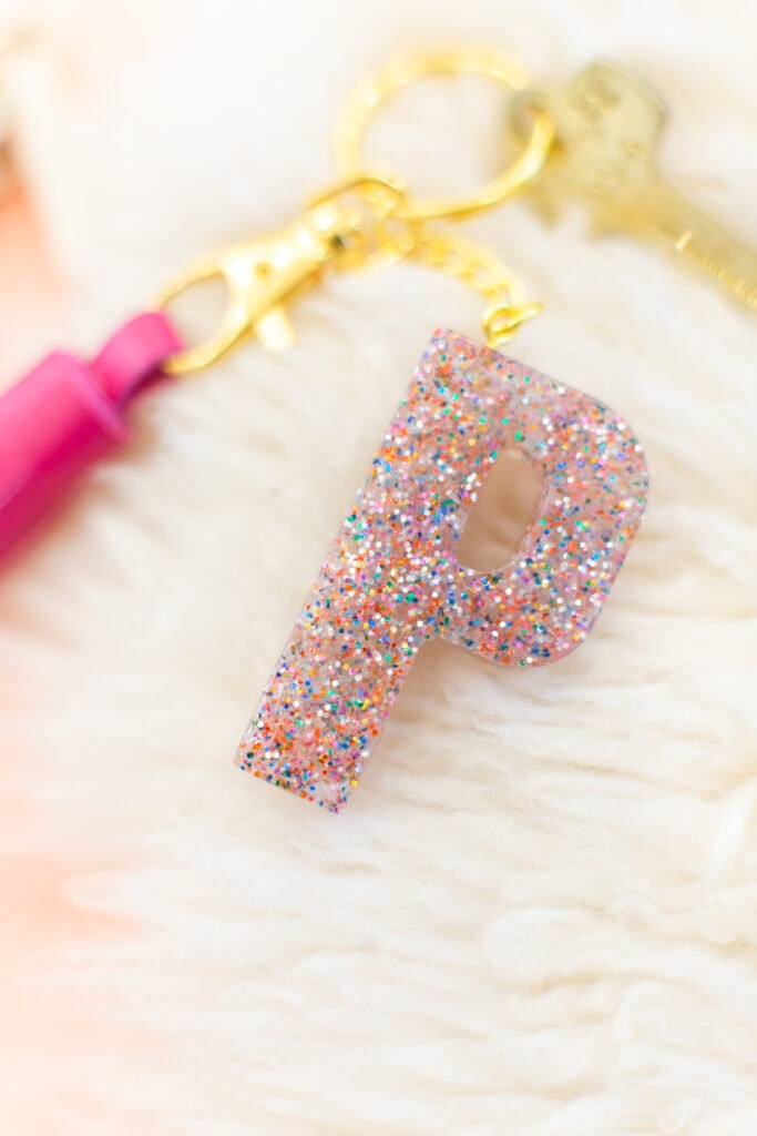 Confetti glitter clay monogrammed keychain
