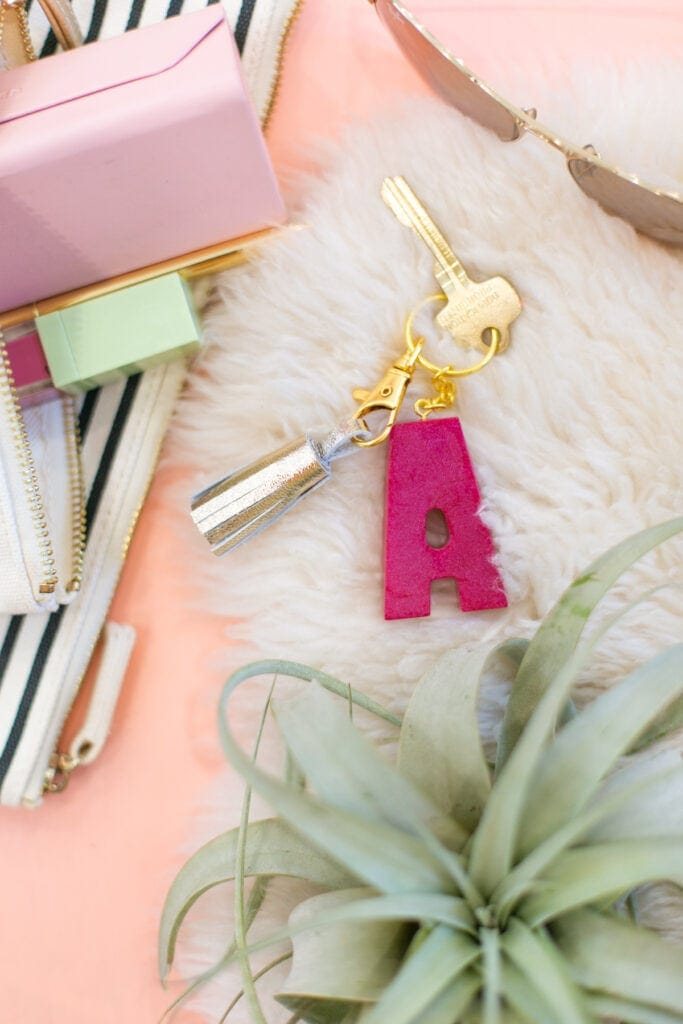 DIY clay monogram keychain