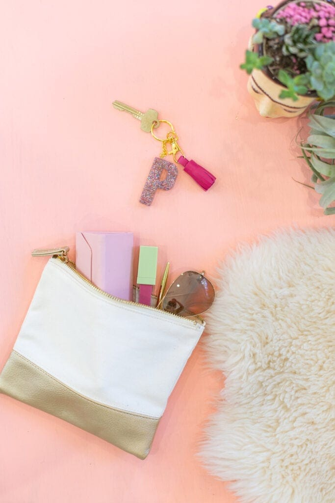 Handbag with handmade monogrammed keychain
