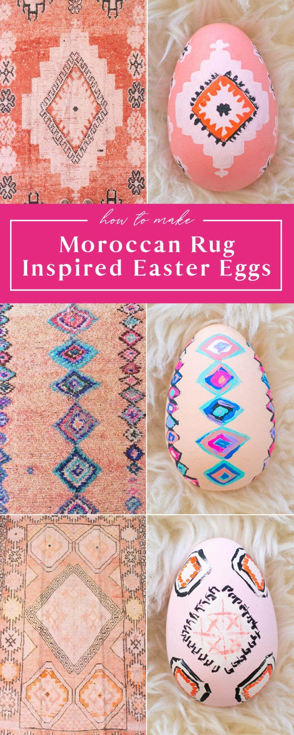 moroccan rug inspired easter eggs
