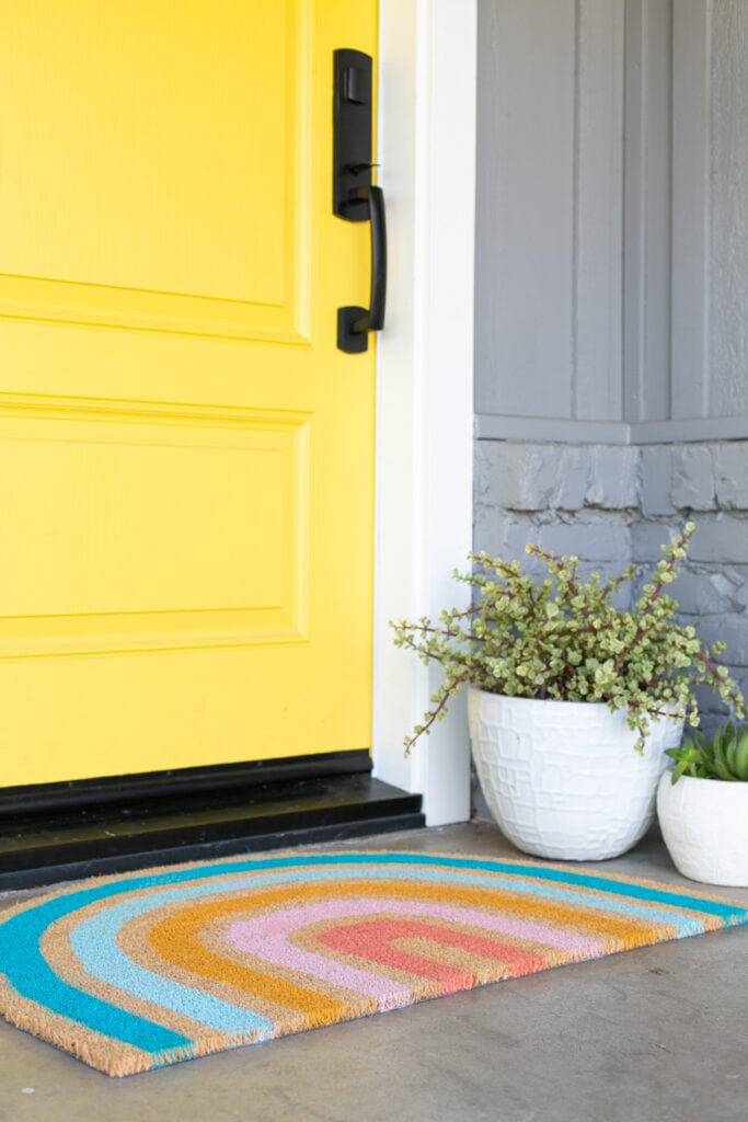 DIY rainbow doormat