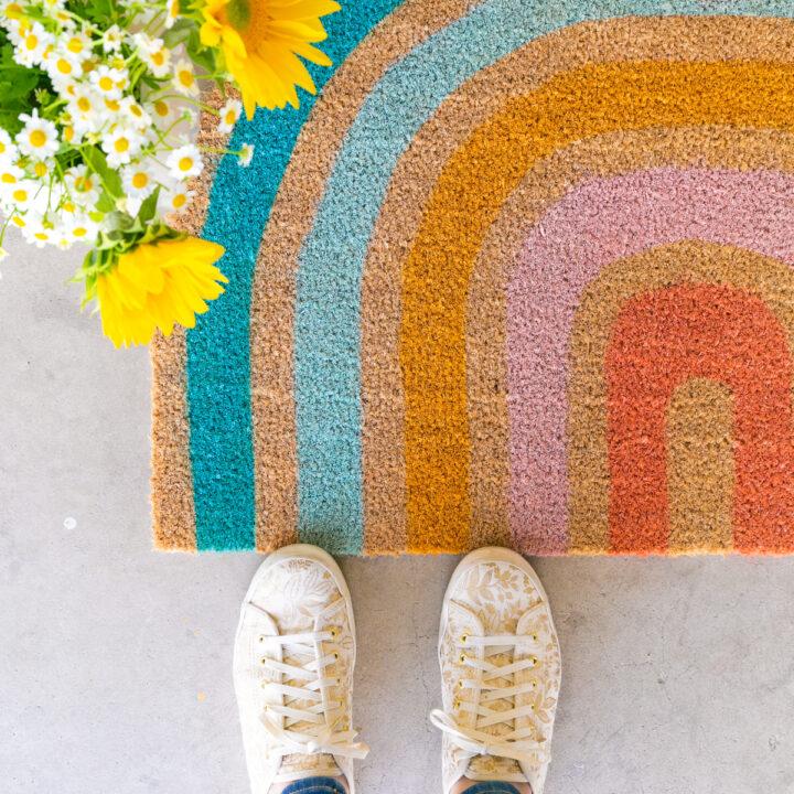how to make a rainbow doormat