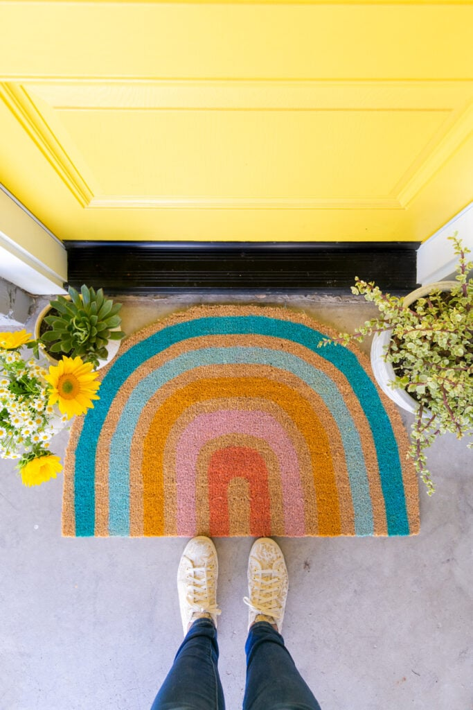 diy rainbow doormat with yellow door