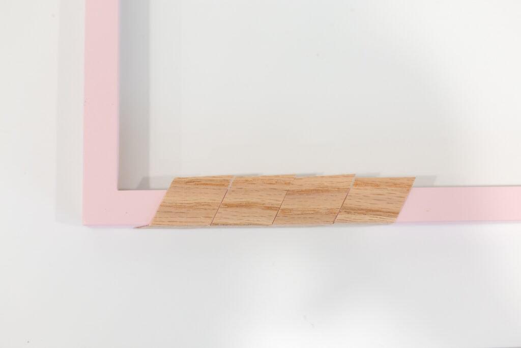 wood veener on DIY photo strip display
