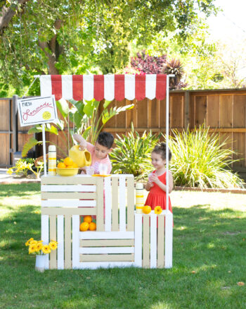 kids playing in lemonade stand
