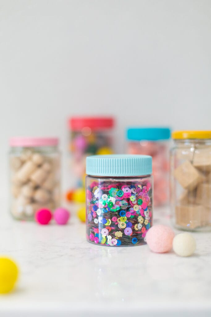 use empty jars for craft storage
