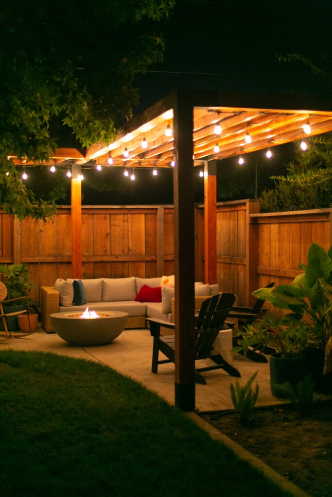 modern pergola at night