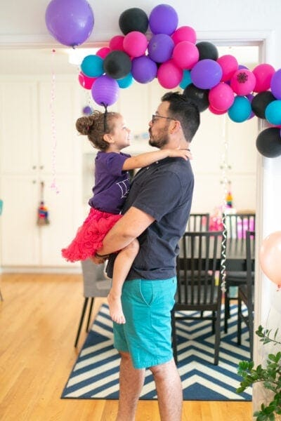 dad and daughter at vampirina birthday party
