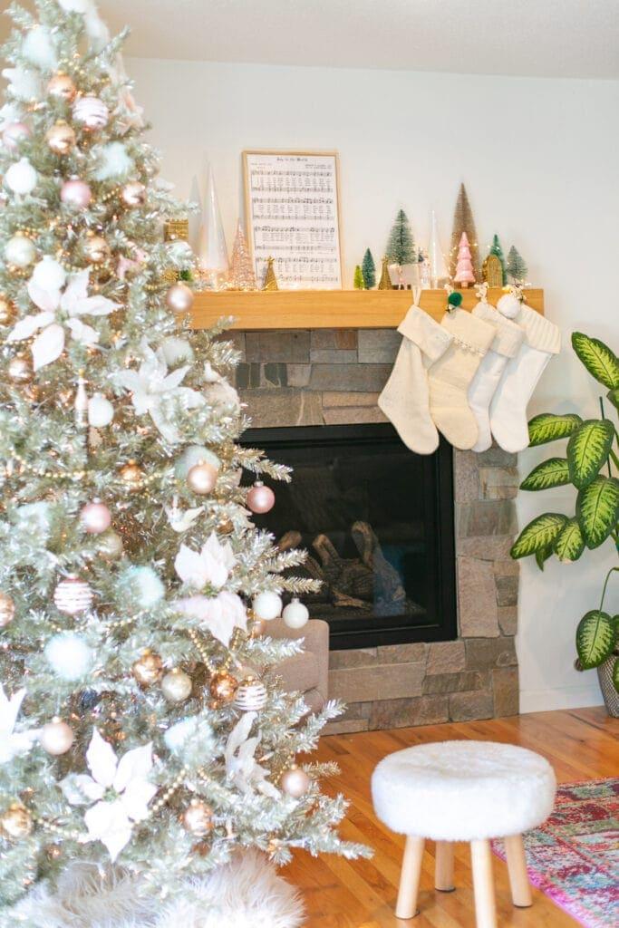 christmas art on a mantel