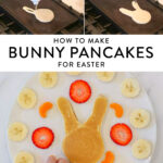 making bunny pancakes on a griddle