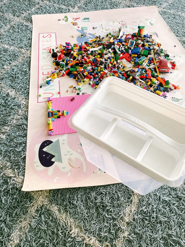 lego bricks and play mat with storage bin