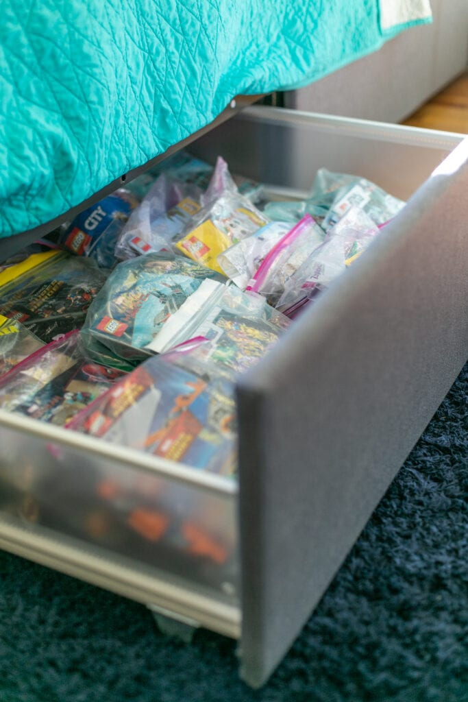 how to store lego in a drawer