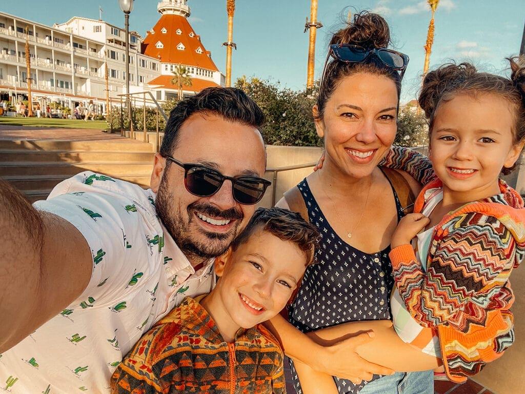 family in coronado at the hotel del coronado near san diego