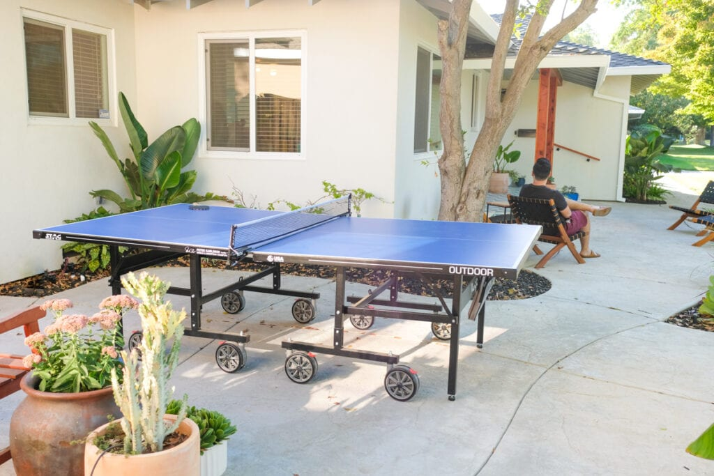 front yard entertaining and ping pong table