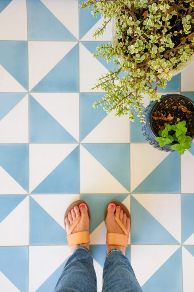 tile patio with plants