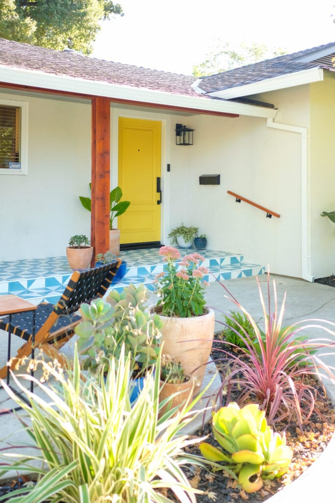 modern tile front porch and landscaping