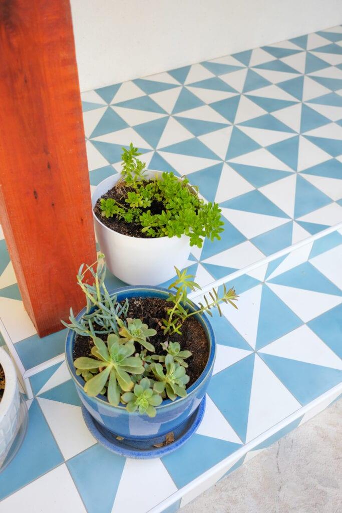 blue tile front porch
